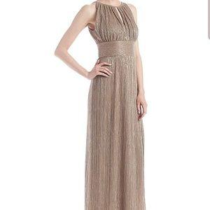 Metallic Gold Halter Dress